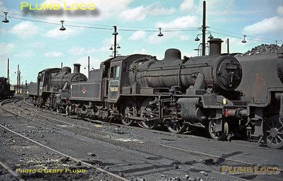 BR Standard Class 2MT 2-6-0s Nos. 78038 and 78039 are stabled together at Willesden MPD, between their weekday duties with ECS in and out of Euston station on Sunday 3rd May 1964. Slide No. 634.